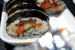 Kimbap sushi, a meaty take on maki. - NERD.LOVE
