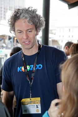 WILL VAN OVERBEEK - Koozoo's Drew Sechrist put his company out there at SXSW, like many others trying to court the favor of investors like Ray Bradford.