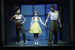 KEVIN  BERNE - (L to R) Nancy Carlin, Brigette Lundy-Paine, and Howard Swain perform in The Pillowman by Martin McDonagh at Berkeley Rep.