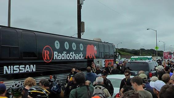 Lance Armstrong's Team Radio Shack Bus - DENNIS BUDD