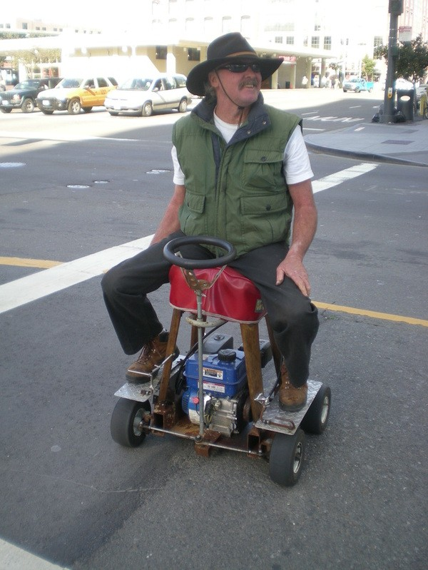 Zipping About San Francisco Via Motorized Barstool The
