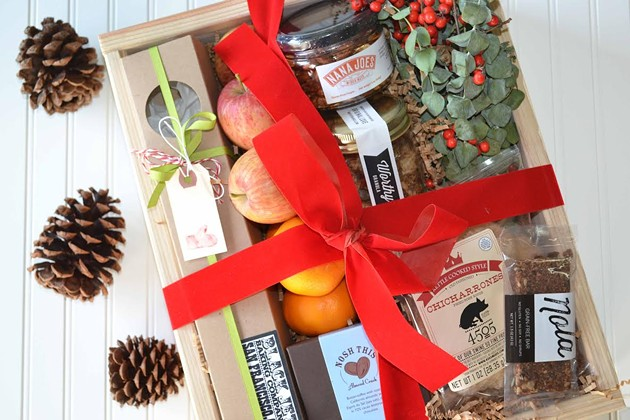 Gift boxes from Luke's local have everything from fresh fruit to a eucalyptus bouquet. - LUKE'S LOCAL