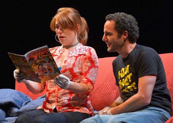 Lauren English (The Girl) and John Riedlinger (The Guy) in Carson Kreitzer's Lasso of Truth. - KEVIN BERNE