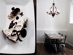 JEN SISKA - Left: bourbon banana cream pie. Right: Wexler's cool, modern, compact room.