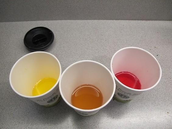 Left to right: citrus soda, green tea, berry soda