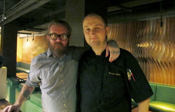 Left to Right: ROKA AKOR bar manager Daniel Hyatt and executive chef Roman Petry - LOU BUSTAMANTE
