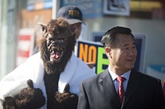 Leland Yee, right, and a werewolf would like to talk to you about the upcoming election - JIM HERD
