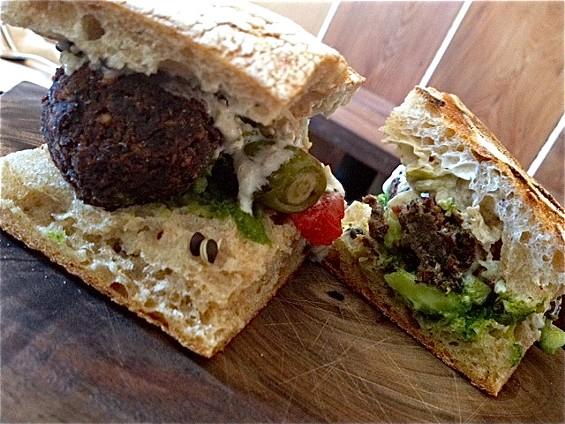 Lentil croquette sandwich at Bar Tartine. - TAMARA PALMER