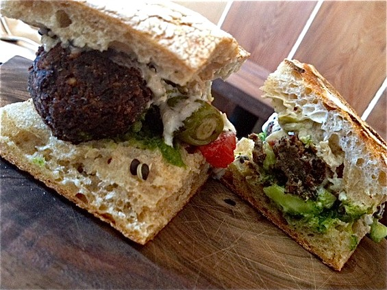 Lentil croquette sandwich at Bar Tartine. - TAMARA PALMER
