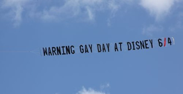 LGBT people love Disney enough that a Florida anti-gay group flies planes over the Magic Kingdom, so that all decent people know to come back some other time. - TOWLEROAD.COM