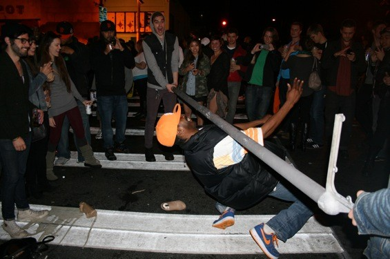 Limbo with a street sign on Mission Street. - SHANNON GALLOGLY