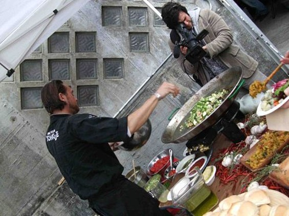 Local chef Daniel Isberg filming a television pilot. - TAMARA PALMER