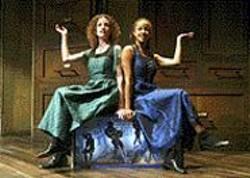 JOAN  MARCUS - Louise Lamson and Lizzy Cooper Davis - illustrate da Vinci's concepts.