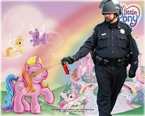 Lt. John Pike douses an innocent My Little Pony for unknown reasons