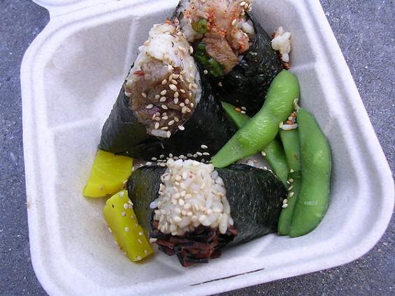 Lunch Set: chicken, eggplant, and hijiki onigiri, with daikon pickle and edamame, $7. - JOHN BIRDSALL