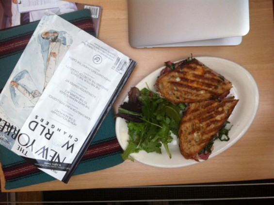 Lunchtime at Farley's means paninis and an excellent selection of mealtime reading. - MOLLY GORE
