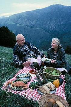 Marion Cunningham and James Beard, sharing a moment with a couple of pheasants. - BEARDFOUNDATION/FLICKR
