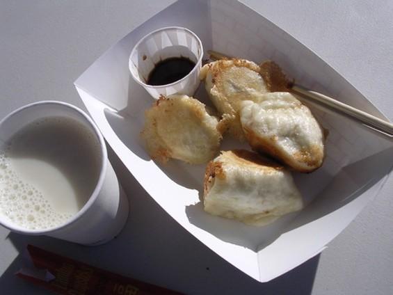 Market breakfast: Shandong-style dumplings and warm soy milk. - J. BIRDSALL