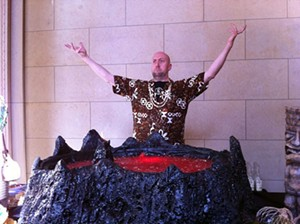 Martin Cate summons up the tiki gods with his volcano bowl. - STEVEN LILES