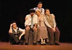 DAVID  ALLEN - Marx brothers Groucho (Michael Austin), - Chico (Anil Margsahayam), Zeppo (Douglas - Giorgis), and Harpo (Kalon Thibodeaux) - with mother Minnie (Darlene Popovic).