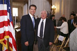 Mayor Gavin Newsom and his Airport Commission president Larry Mazzola.