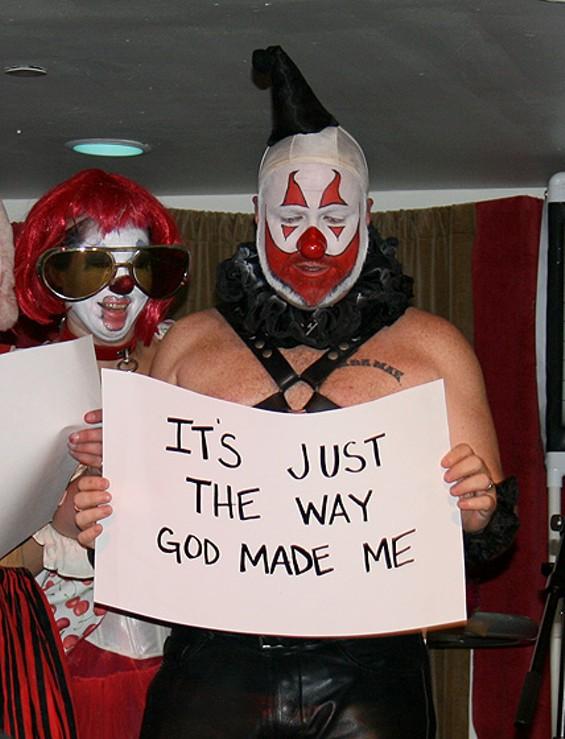Members of Porn Clown Posse lead a sing-along