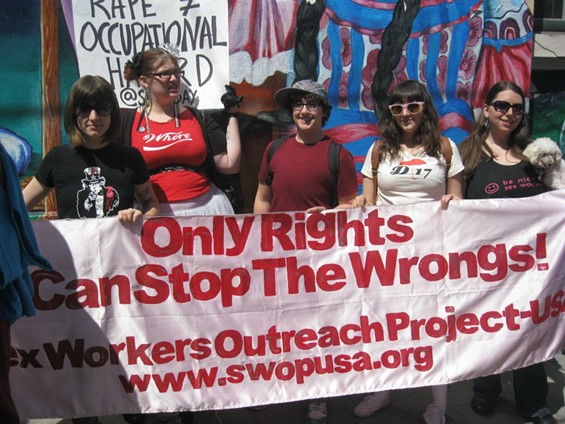 Members of the Sex Workers Outreach Project marching against rape.