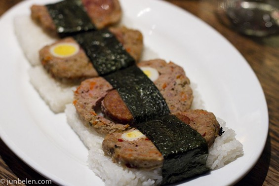 Mercury Lounge's Dominc Ainza turned embutido, Filipino-style meatloaf, into a variation on Spam musubi. - JUN BELEN