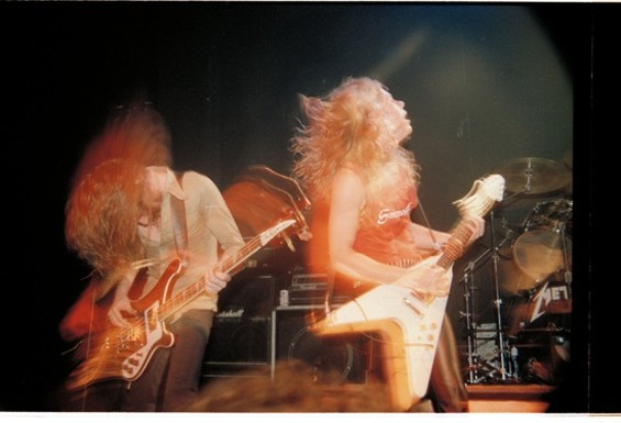 Metallica performing at the Keystone in Palo Alto. Photo by Brian Lew, from the book Murder in the Front Row: Shots From the Bay Area Thrash Metal Epicenter