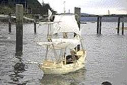 Michael Arcega sails his ship made of - Manila folders.