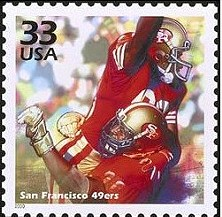 Mickey Pfleger's photo of Jerry Rice leaping into Steve Wallace's arms was used to commemorate the 49ers glory years on a postage stamp
