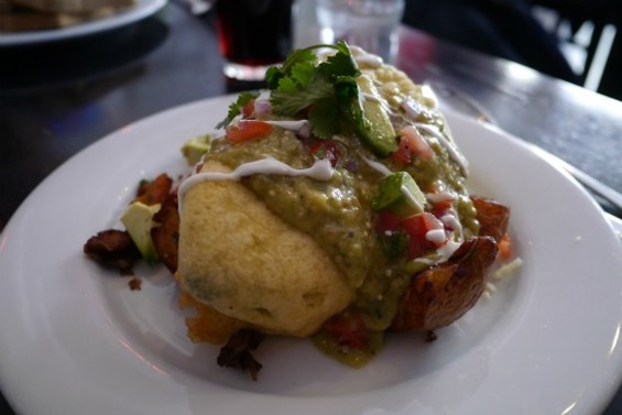 Migas chili relleno, stuffed with scrambled eggs and peppers