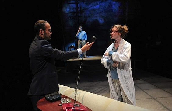 Miguel (l. Adrian Anchondo), Emma (r. Jessica Bates*) and (back, Rolf Saxon*) in 'After the Revolution.' - DAVID ALLEN