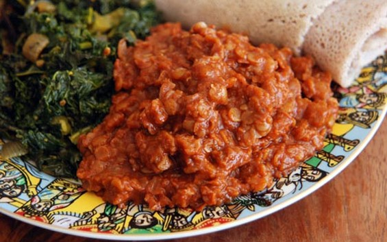 Misir wot (red lentils) with injera. - EJI'S ETHIOPIAN
