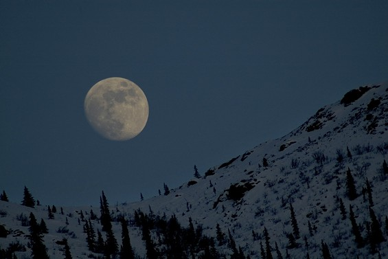 Moon Setting Over the Brooks Range Mountains - HEATHER MEADER-MCCAUSLAND