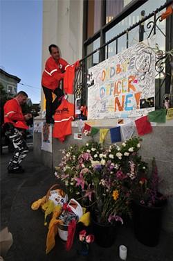 JOSH EDELSON - Mourners built a temporary shrine celebrating Jane Warner in the Castro.