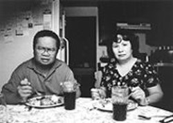 Mr. and Mrs. Delacruz don't look thrilled when they get - wind of their daughter's impending nose job in Rod - Pulido's The Flip Side.