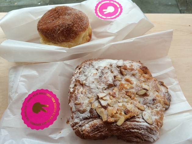 A banana donut and a twice-baked caramel croissant. - PETE KANE