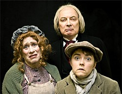ZABRINA TIPTON - Mrs. Cratchit (Joan Mankin), Scrooge (Victor Talmadge), and Tiny Tim (Lizzie Calogero).