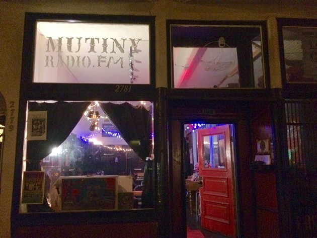 The Mutiny Radio storefront and studio in the Mission.