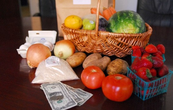 My Food Bank-provided food for the week, plus my $22.50 weekly allotment for groceries. - EVAN DUCHARME