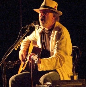 Neil Young performing at the Fox Theater in July
