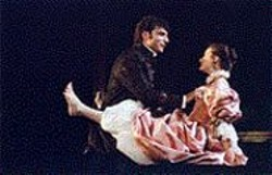 KEVIN  BERNE - Neither Character Nor Principles: - Valmont (Marco Barricelli) toys with - Ccile (Elizabeth Raetz).