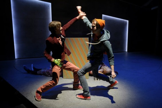 """Nemesis Jake Miller (Robbie Tann) and our hero Bradley """"Freakin"""" Boatright (Gabriel King) have the worst kind of showdown: the middle school kind. - KEVIN BERNE"""