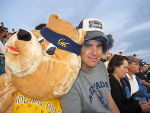 Nevada fans like the guy on the right will be heading to San Francisco. Pac-10 fans like the dude in the bear suit will not.