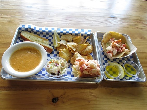 New England Lobster Market & Eatery's lobster chowder, lobster roll, and lobster taco. - TREVOR FELCH