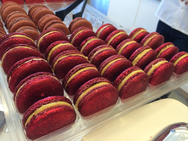 A sizable quantity of Tout Sweet's daily production of Angry Inch macarons. - PETE