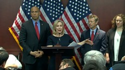 The senators announcing the news on Tuesday at a Washington, D.C. press conference. - YOUTUBE