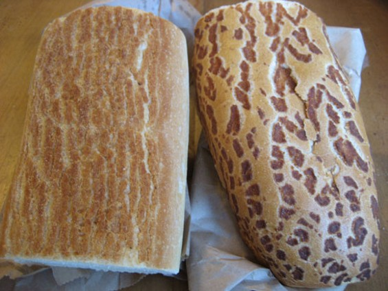 New Royal Bakery's dutch crunch (left), Safeway roll (right)