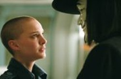 DAVID  APPLEBY - No Hair? No Problem: Natalie Portman hangs out with the masked vigilante V (Hugo Weaving).